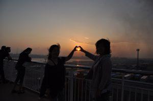 ハートに夕陽