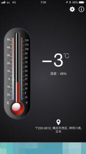 温度計はー3度です。