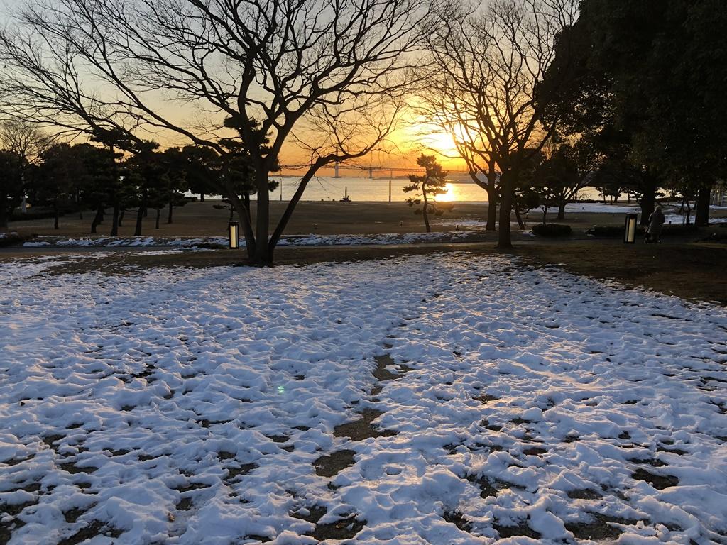 臨港パークも一面に凍りついています。