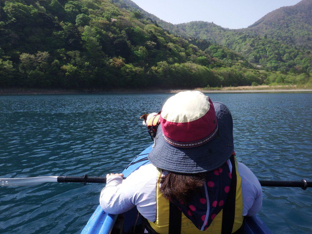 静かな湖面に漕ぎ出します。