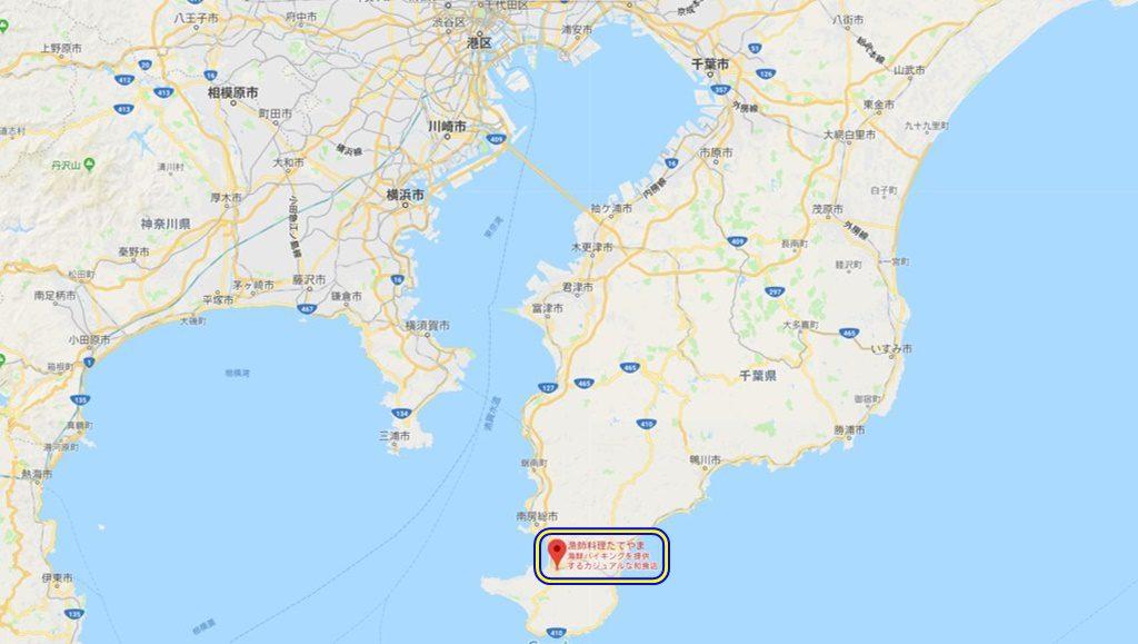 海鮮料理たてやまの場所(GoogleMapより引用)