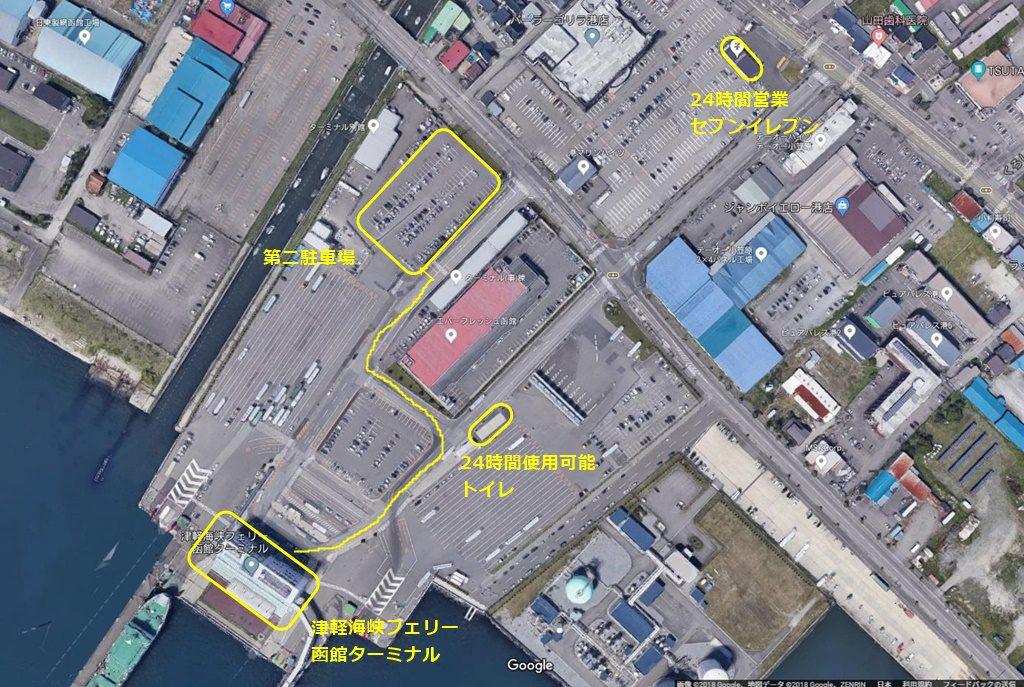 上空よりの第二駐車場の位置、近くにコンビニ、トイレもあります。GoogleMapより引用