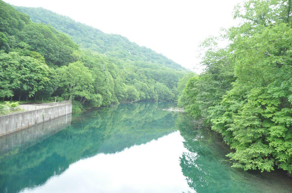 支笏湖とは反対の川の景色です