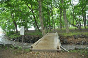 この橋の先は第一キャンプ場となりペットの立ち入りは禁止です。