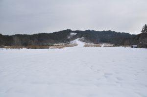 一面雪の広場。
